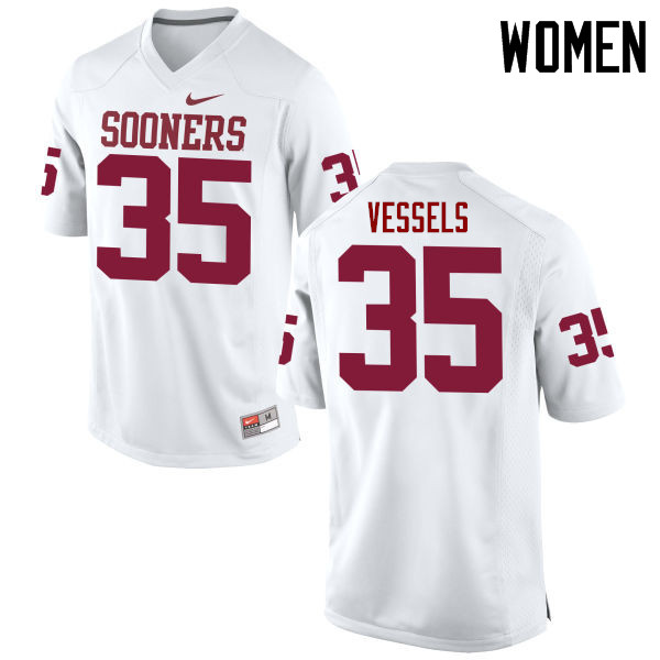 Women Oklahoma Sooners #35 Billy Vessels College Football Jerseys Game-White