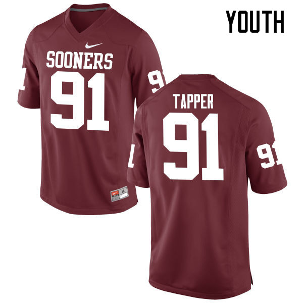 Youth Oklahoma Sooners #91 Charles Tapper College Football Jerseys Game-Crimson
