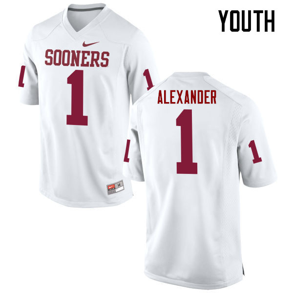 Youth Oklahoma Sooners #1 Dominique Alexander College Football Jerseys Game-White
