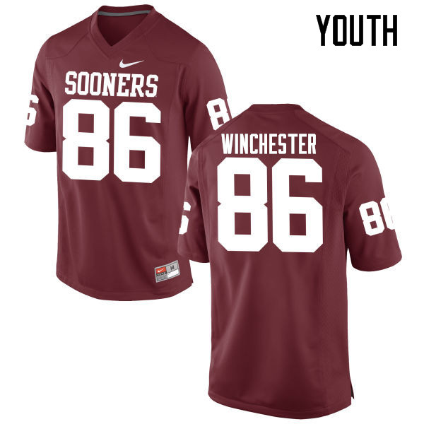 Youth Oklahoma Sooners #86 James Winchester College Football Jerseys Game-Crimson