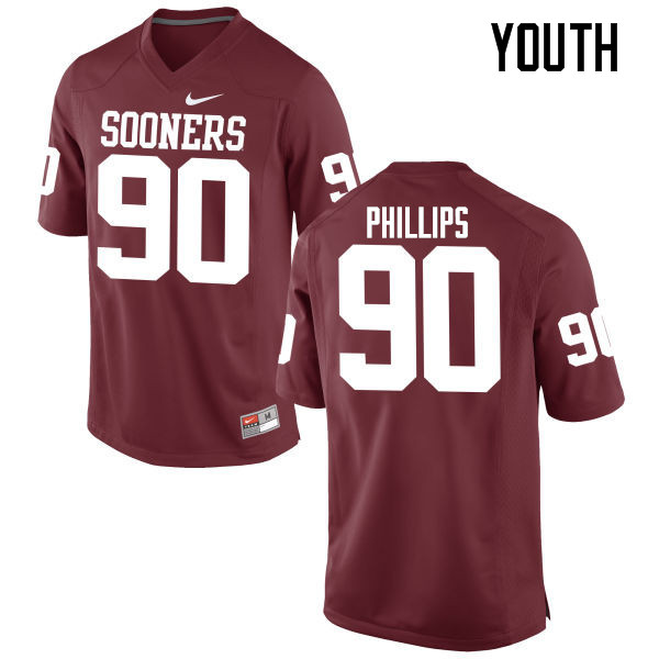 Youth Oklahoma Sooners #90 Jordan Phillips College Football Jerseys Game-Crimson