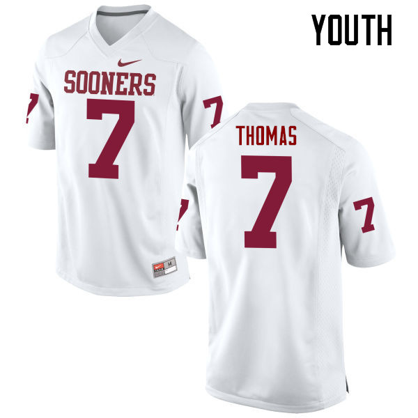 Youth Oklahoma Sooners #7 Jordan Thomas College Football Jerseys Game-White