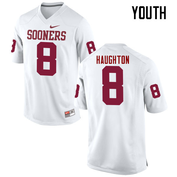 Youth Oklahoma Sooners #8 Kahlil Haughton College Football Jerseys Game-White