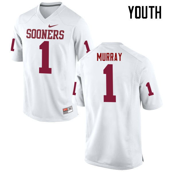 Youth Oklahoma Sooners #1 Kyler Murray College Football Jerseys Game-White