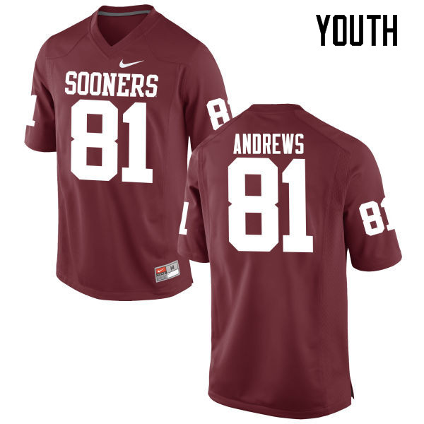 Youth Oklahoma Sooners #81 Mark Andrews College Football Jerseys Game-Crimson