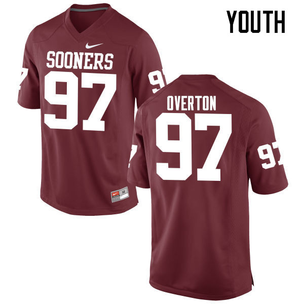 Youth Oklahoma Sooners #97 Marquise Overton College Football Jerseys Game-Crimson
