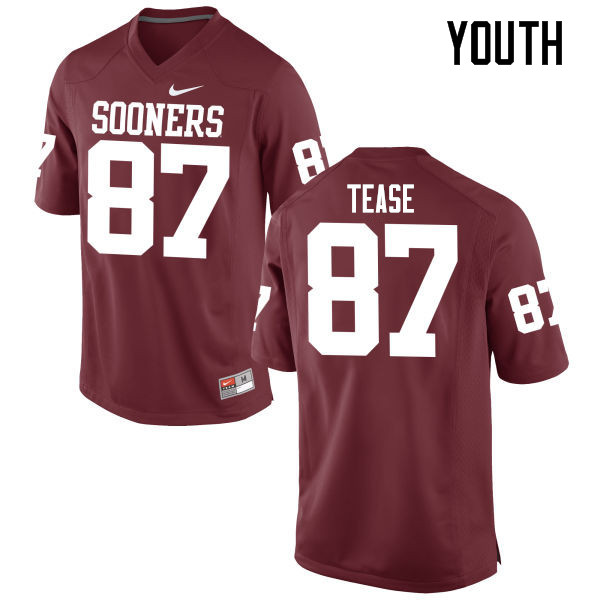 Youth Oklahoma Sooners #87 Myles Tease College Football Jerseys Game-Crimson