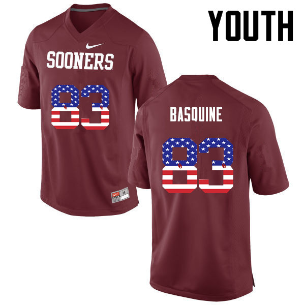 Youth Oklahoma Sooners #83 Nick Basquine College Football USA Flag Fashion Jerseys-Crimson