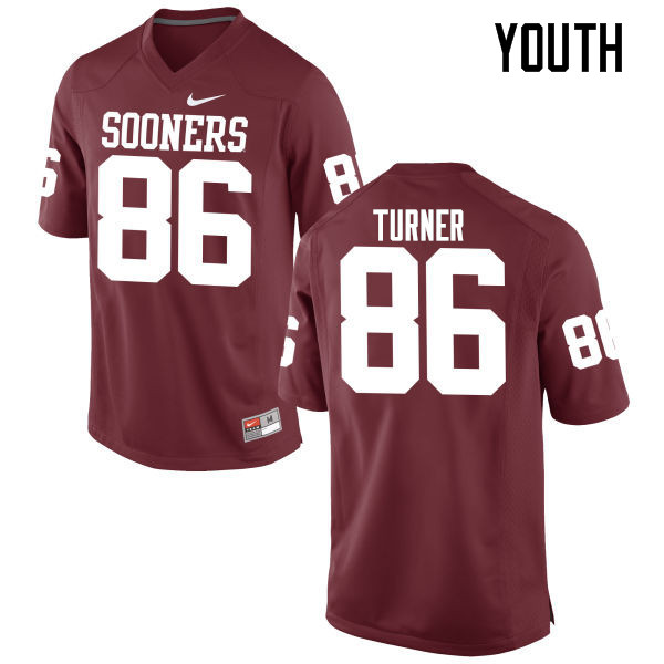 Youth Oklahoma Sooners #86 Reggie Turner College Football Jerseys Game-Crimson