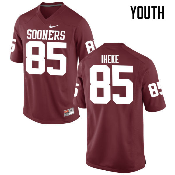 Youth Oklahoma Sooners #85 Sam Iheke College Football Jerseys Game-Crimson