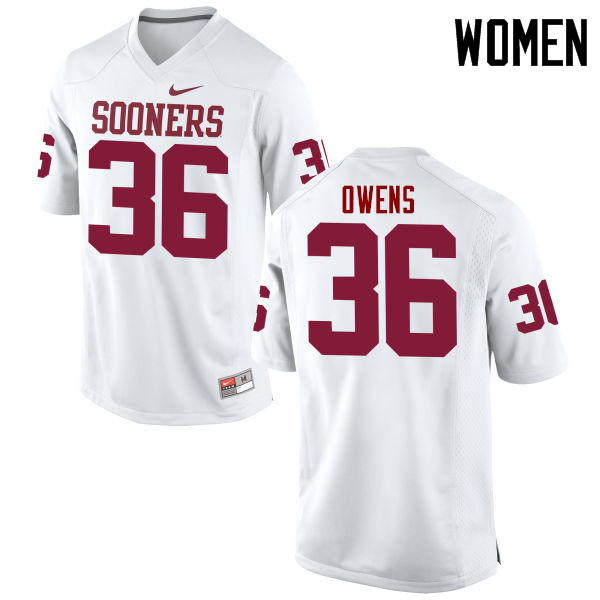 Women Oklahoma Sooners #36 Steve Owens College Football Jerseys Game-White