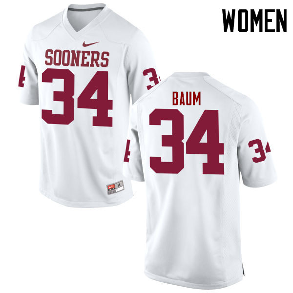 Women Oklahoma Sooners #34 Tanner Baum College Football Jerseys Game-White