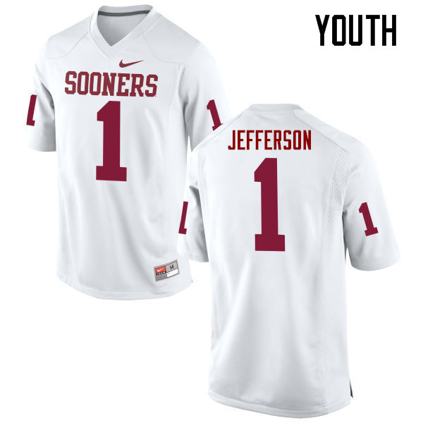 Youth Oklahoma Sooners #1 Tony Jefferson College Football Jerseys Game-White