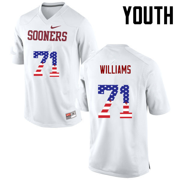 Youth Oklahoma Sooners #71 Trent Williams College Football USA Flag Fashion Jerseys-White
