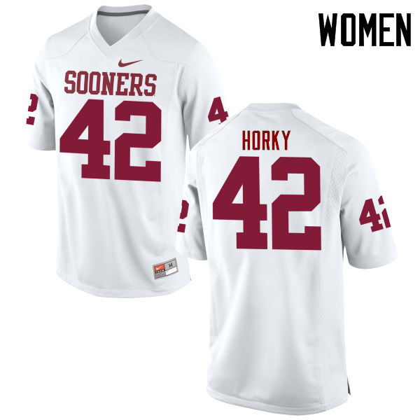 Women Oklahoma Sooners #42 Wesley Horky College Football Jerseys Game-White