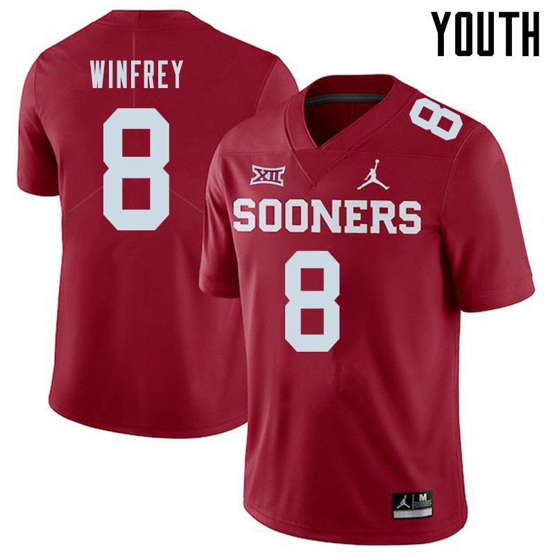Jordan Brand Youth #8 Perrion Winfrey Oklahoma Sooners College Football Jerseys Sale-Crimson