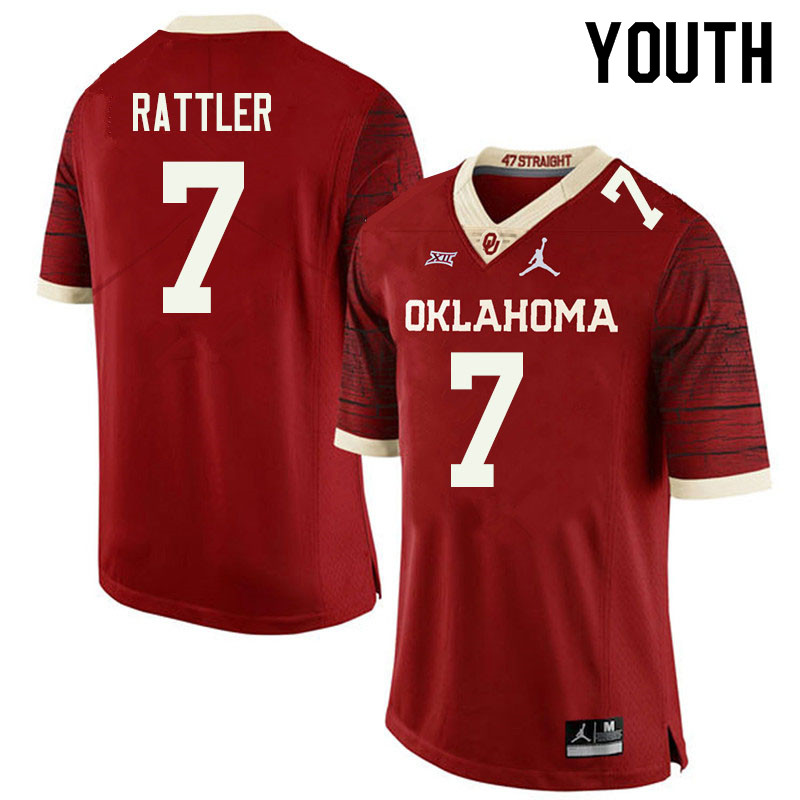 Jordan Brand Youth #7 Spencer Rattler Oklahoma Sooners College Football Jerseys Sale-Retro
